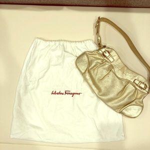 Authentic Salvatore Ferragamo Gold Bag